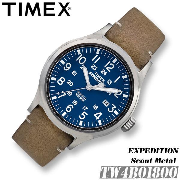 スカウト 黒 TIMEX ミリタリー 腕時計 タイメックス 革ベルト 【並行輸入品】 メンズ 42MM TW4B12400 アナログ ネイビー レザー ブラック クロノグラフ エクスペディション