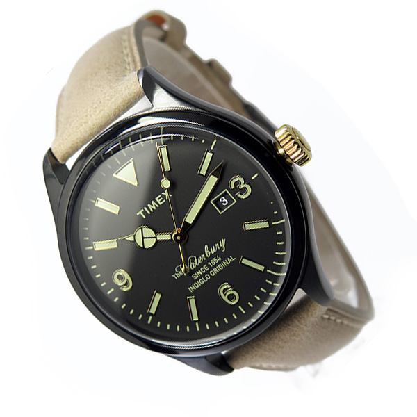 TIMEX【TW2P74900】The Waterbury Collection 40mm径 タイメックス ウォーターベリーコレクション メンズ  クォーツ 腕時計 ブラックIPツートン レザーベルト 並行輸入【新品】『宅配便』**(北海道・沖縄は一部ご負担)