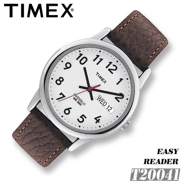 TIMEX EASY READER【T20041】35mm径 タイメックス イージーリーダー メンズ レディース ユニセックス クォーツ 腕時計 レザーベルト 茶 ブラウン 並行輸入【新品】*送料無料*(北海道・沖縄は一部ご負担)
