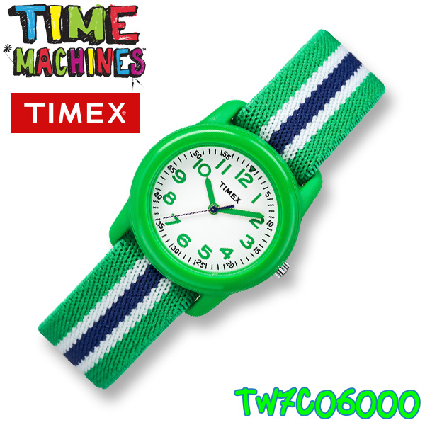 TIMEX KIDS TW7C06000 タイメックス キッズ 子供用 アナログ 腕時計 グリーン ホワイト×ネイビー ストライプ 並行輸入【新品】**(北海道・沖縄は一部ご負担)