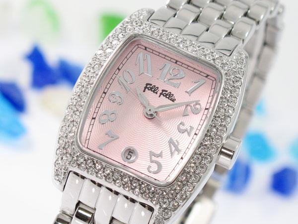 *送料無料*フォリフォリ FOLLI FOLLIE 腕時計 WF5T081BDP レディース 女性用★飽きのこないトノー型ケースにクリスタルの輝き!