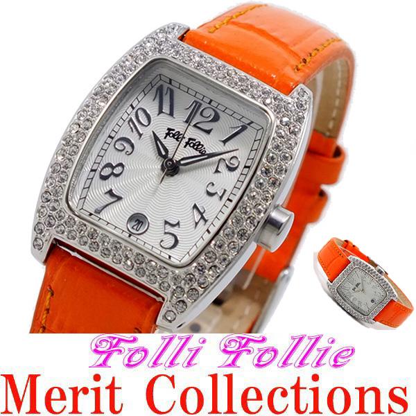 ★送料無料!おススメです!S922ZI-SLV-ORG フォリフォリ腕時計 女性用 レディース オレンジ フォリフォリ FOLLI FOLLIE ジルコニア付き 腕時計オレンジ クリスタルの輝き!