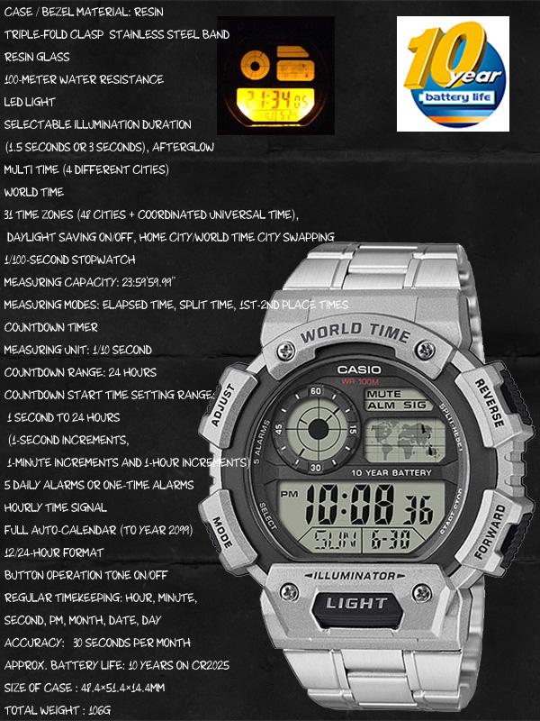 CASIO AE-1400WHD-1A WORLD TIME STANDARD DIGITAL カシオ 【ワールドタイム】多機能デジタル 腕時計【10気圧防水】【長寿命10年バッテリー】海外モデル【新品】