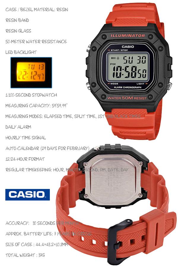 CASIO W-218H-4B SPORTS DIGITAL カシオ スポーツ デジタル メンズ 腕時計 1/100秒ストップウォッチ レッド 赤 海外モデル【新品】