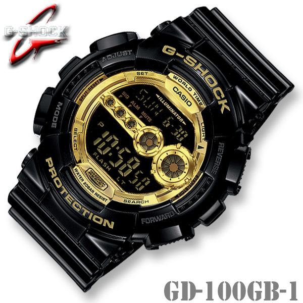 CASIO G-SHOCK GD-100GB-1 カシオ Gショック 腕時計【Black × Gold Series】ブラック×ゴールド 金 黒 高輝度 LED バックライト【国内 GD-100GB-1JF と同型】海外モデル【新品】*送料無料*(北海道・沖縄は一部ご負担)