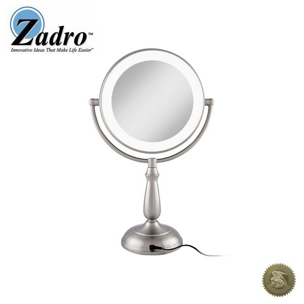 1大特典付 Zadro(ザドロ) / LEDVPRT410 (サテンニッケル) [鏡面 18cm] 【等倍率 / 10倍率】 卓上型拡大鏡(ライト有り) - 【アメリカブランド】