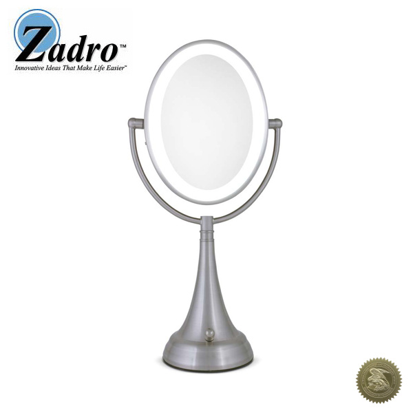 1大特典付 Zadro(ザドロ) / LEDOVLV410 (サテンニッケル) [鏡面 19×14cm] 【等倍率 / 10倍率】 卓上型拡大鏡(ライト有り) - 【アメリカブランド】