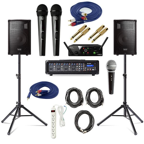 【AKGワイヤレスマイク2本PAセット】 Alesis(アレシス) / PA SYSTEM IN A BOX BUNDLE 【AL-SRI-011】 / WMS40 PRO MINI VOCAL SET 《講演 ・イベントに最適》