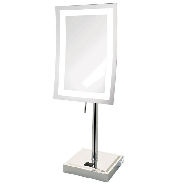 Jerdon(ジェルドン) / JRT910CL (クロム) 《LED付き鏡》 [鏡面 約17×23cm / 高さ 約43cm] - 卓上型テーブルミラー -