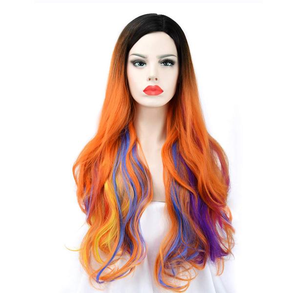 【緊急告知 12/19~26限定エントリ―P7倍】SEIKEA / Long Orange With Colorful Highlight Hair Wig レディース ウィッグ かつら グラデーション オレンジ 【コスプレ ハロウィン】