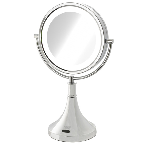 Jerdon(ジェルドン) / JRT8500CL (クロム) 《LED付き拡大鏡》 [鏡面 約22cm / 高さ 約40cm] 【8倍率】 - 卓上型テーブルミラー -
