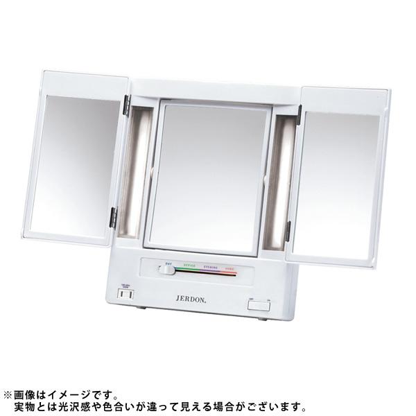 1大特典付 Jerdon(ジェルドン) JGL9W (ホワイト) ライト付拡大鏡 【5倍率/等倍率】 卓上型三面鏡