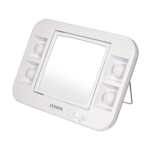 Jerdon(ジェルドン) / J1015 (ホワイト) 《ライト付拡大鏡》 【5倍率/等倍率】 卓上型三面鏡