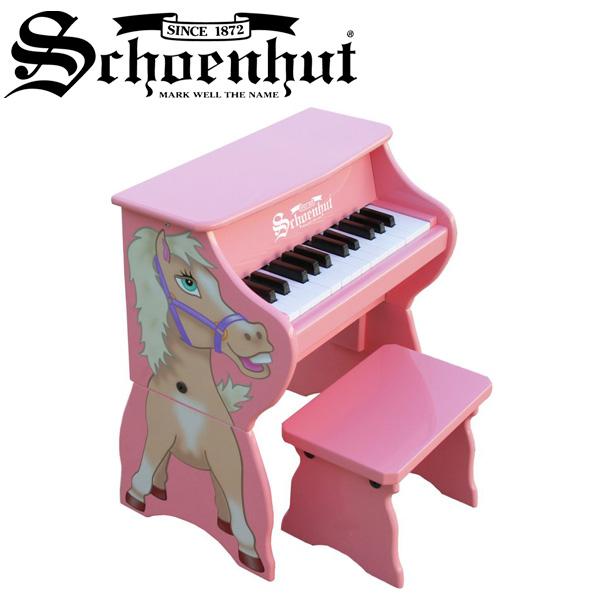 Schoenhut(シェーンハット) / Piano Pals (Pink/Horse) ベンチ付き 25鍵トイピアノ 直輸入品