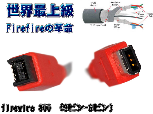 Unibrain(ユニブレイン) / 米国製 FireWire 800 (IEEE 1394b) タイプ (9p to 6p / 長さ 10m) 【世界最上級Firewireケーブル】