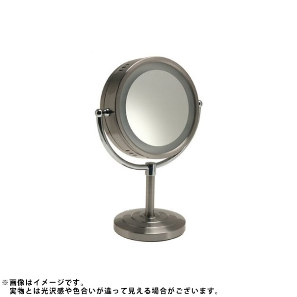 Jerdon(ジェルドン) / HL745NC (ニッケル) 《ライト付拡大鏡》 [鏡面 直径22cm] 【5倍率/等倍率】 -卓上型テーブルミラー- 大特典セット
