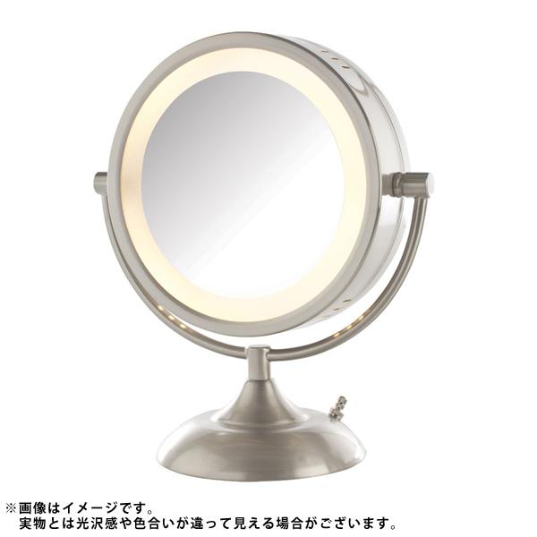 Jerdon(ジェルドン) / HL855NPP (ニッケル) 《ライト付拡大鏡》 [鏡面 直径22cm] 【8倍率/等倍率】 -卓上型テーブルミラー- 大特典セット