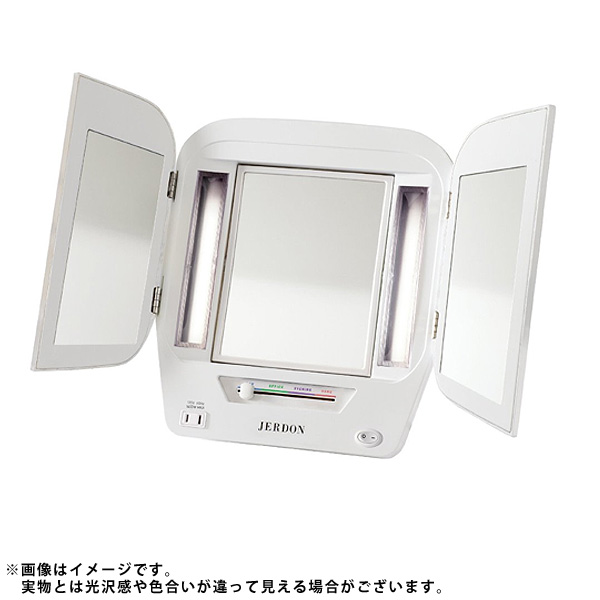Jerdon(ジェルドン) / JGL10W (ホワイト) 《ライト付拡大鏡》 【5倍率/等倍率】 -卓上型三面鏡- 大特典セット