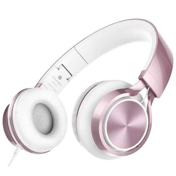 【緊急告知 12/19~26限定エントリ―P7倍】AILIHEN MS300 (pink) スマホ PC 折りたたみ式 ステレオ ヘッドホン 直輸入品