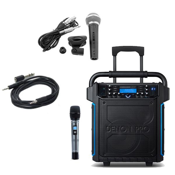 【有線マイクセット】 Denon(デノン) / Commander Sport -ワイヤレスマイク付き ポータブルPAシステム - 【 防滴IPX4 Bluetooth対応 充電池内蔵 】