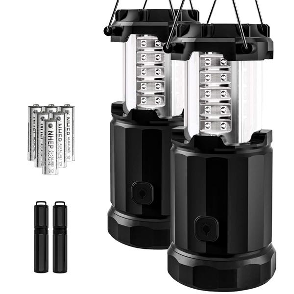 【緊急告知 12/19~26限定エントリ―P7倍】【2個セット】 Etekcity / 2 Pack Portable Outdoor LED Camping Lantern LED 折りたためる ランタン 電池式 防水 ファイヤースターター付 直輸入品