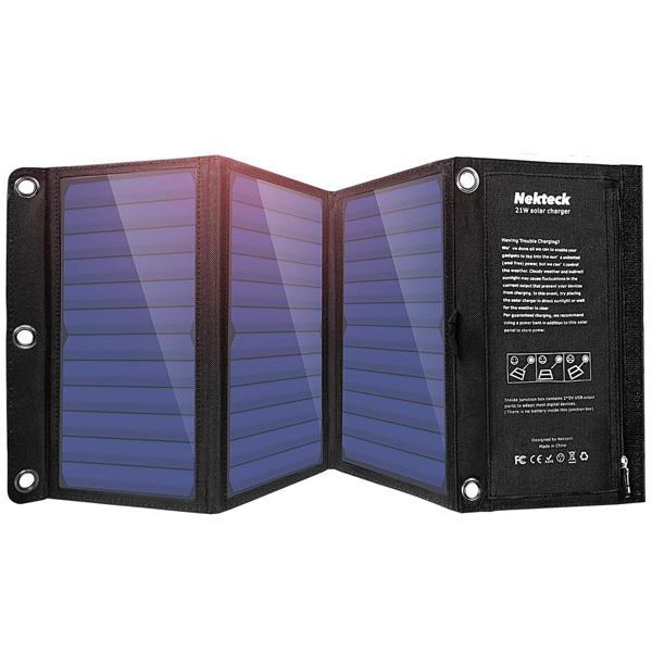 Nekteck / 21W Solar Charger 21W ソーラー 2ポート USB 充電器 iPhone、iPad、Galaxy S6 / S7 / Edge / Plus、Nexus 5X / 6P 対応 直輸入品