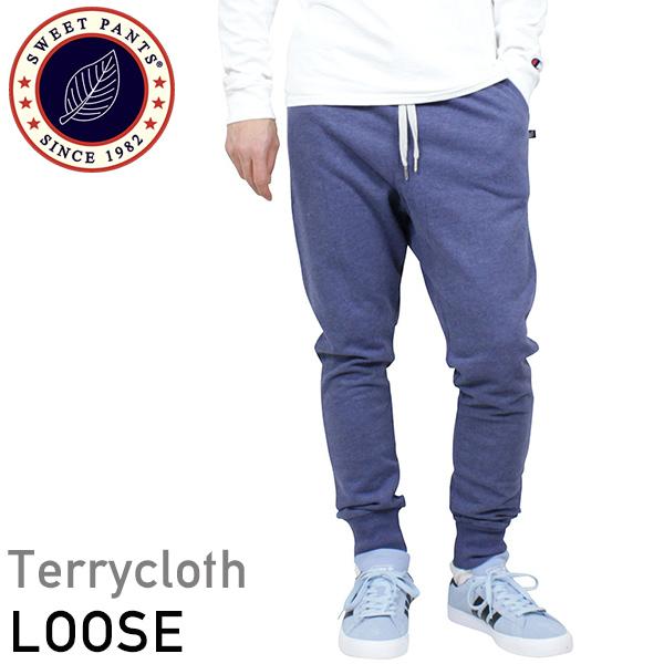 SWEET PANTS スイートパンツ Loose Pants TERRY メンズ スウェットパンツ INDIGO インディゴ 霜降り ブルー スリムパンツ サルエル スエット フランス フレンチテリー レディース 聖林公司 HRM 送料無料 通販