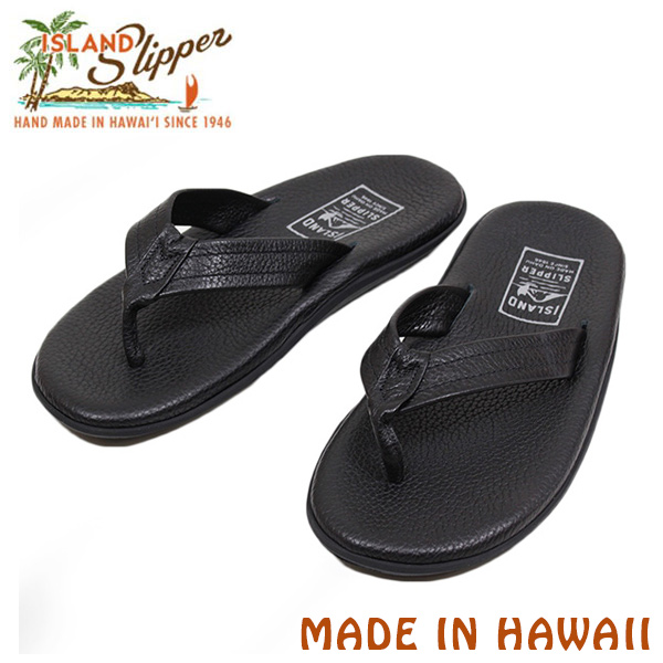 ISLAND SLIPPER Island slippers PB202SR leather Sandals mens Sandals tongs spring summer black black hand MADE IN HAWAII USA-Hawaii Beach Resort ur