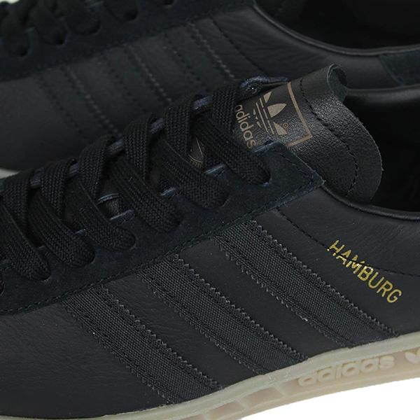 adidas 아디다스 HUMBURG 맨즈 스니커[BLACK/GUM]Hamburg 맨즈 블랙 껌 구두창 레더 남성용 S74835 낙천 통판