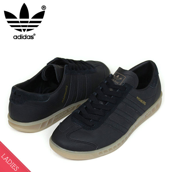 93aaa0915b4 miami records  S74835 Rakuten mail order for the adidas Adidas HUMBURG Lady s  sneakers  BLACK GUM  Hamburg Lady s black gum sole leather woman