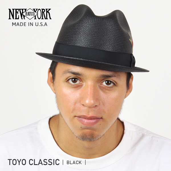 NEW YORK HAT Toyo Classic (the New York Hat Straw Hat Black Straw Hat mens Womens 2271)
