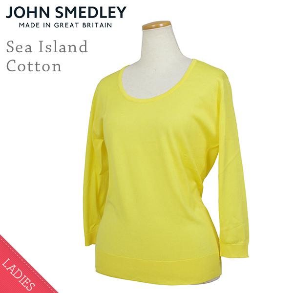 John Smedley ジョンスメドレー ISLAND シーアイランドコットン レディース 七分袖 ラウンドネックニット LEMON イエロー コットンニット カットソー 女性用 英国製 送料無料 MADE IN ENGLAND UK 通販