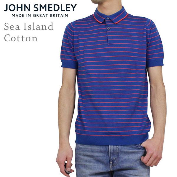 John Smedley ジョンスメドレー SEIFERT シーアイランドコットン メンズ ボーダーポロシャツ STEVENS BLUE ブルー オレンジ カットソー 半袖 男性用 英国製 MADE IN ENGLAND UK 送料無料 通販