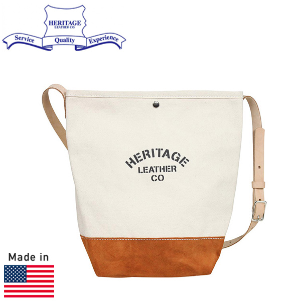 HERITAGE LEATHER ヘリテージレザー スエードボトム バケット ショルダーバッグ NATURAL/BROWN MADE IN USA アメリカ製 メンズ レディース 男女兼用 トートバッグ かばん 送料無料 通販