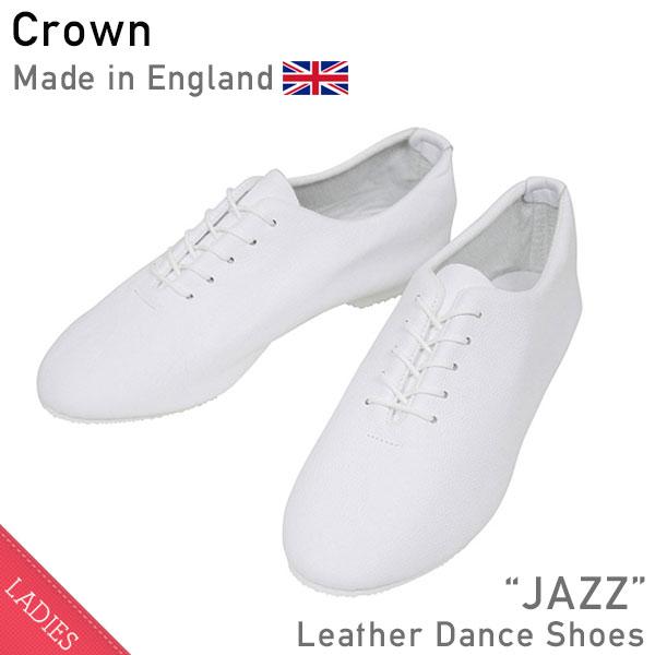 CROWN クラウン JAZZ レザーシューズ WHITE レディース ダンス オールホワイト スニーカー バレエシューズ repetto MADE IN ENGLAND 英国製 送料無料 通販
