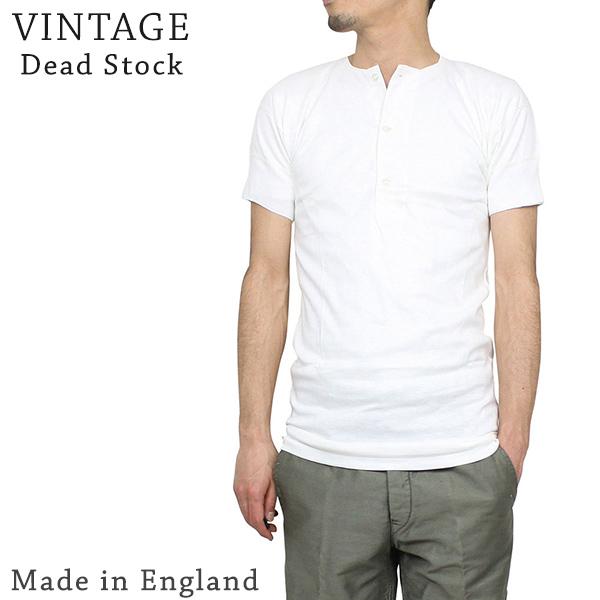 8410b1344cb Vintage white inner 60s Rakuten mail order made in the Dead Stock dead  stock 70S MADE IN ENGLAND interlock henley neck shirt [WHITE] men vintage  U.K.