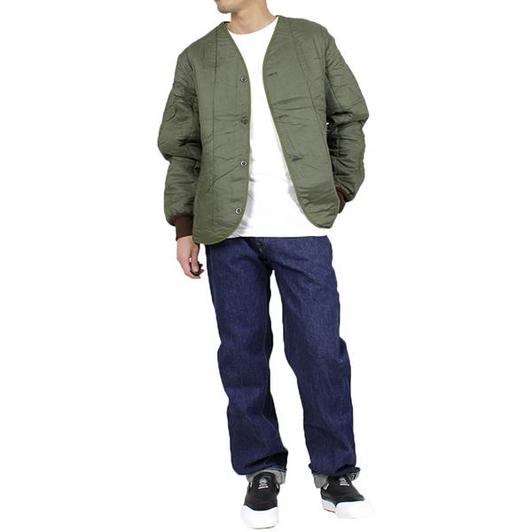d2aaae22455 Thermal inner jacket  OLIVE  vintage vintage military olive no-collar liner  batting M-60 EURO VINTAGE Rakuten mail order men s for Dead Stock dead stock  ...