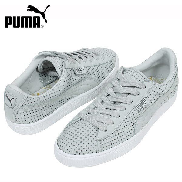 puma grey leather sneakers