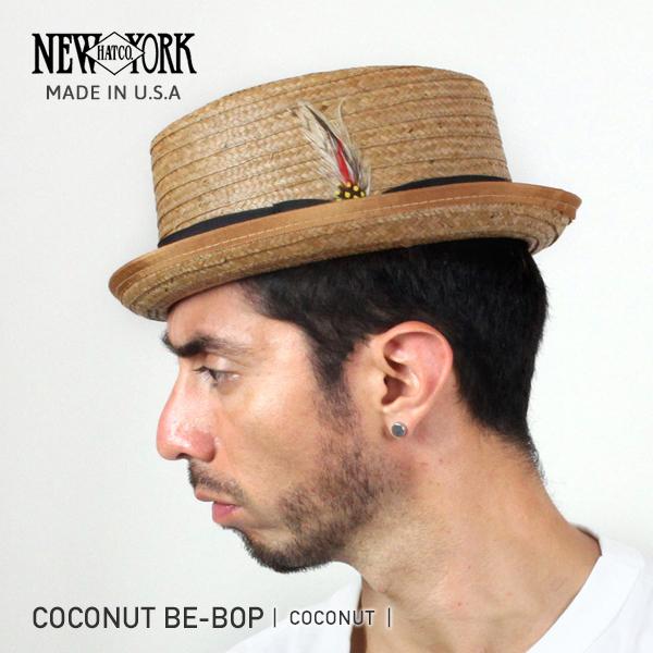NEW YORK HAT 뉴욕 햇 Coconut Be-Bop 스트로 햇 [COCONUT] ココナッツビバップ 밀 짚 모자 포크 파이 맨 즈 레이디스 # 2130