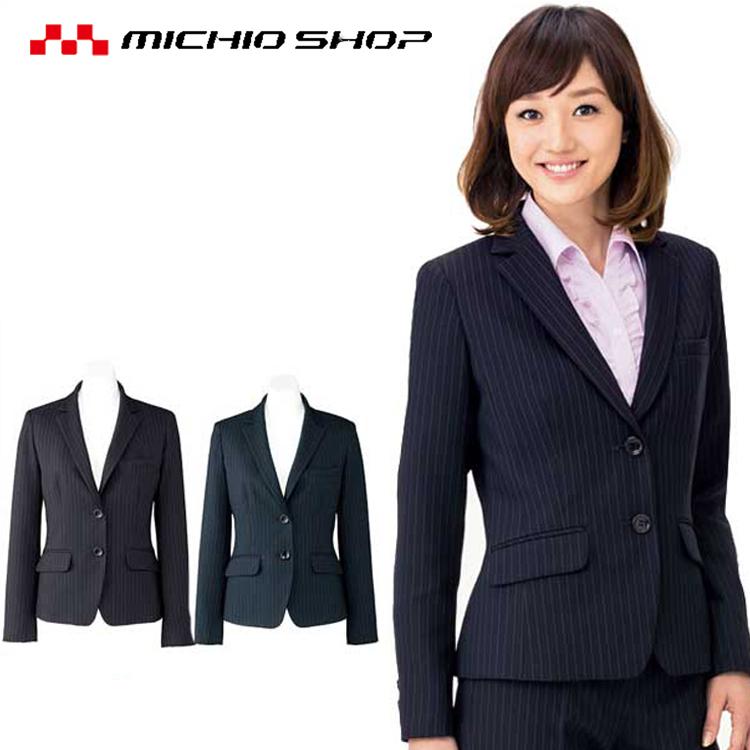 誠実で落ち着いた印象を与えるピンストライプのスーツは、洗練されたシルエットとイージーケアが魅力。バリュー(価値ある)なスーツです。 事務服 制服 BONMAX ボンマックス ジャケット AJ0245 大きいサイズ21号 オフィスユニフォームスーツビジネスカジュアル事務服
