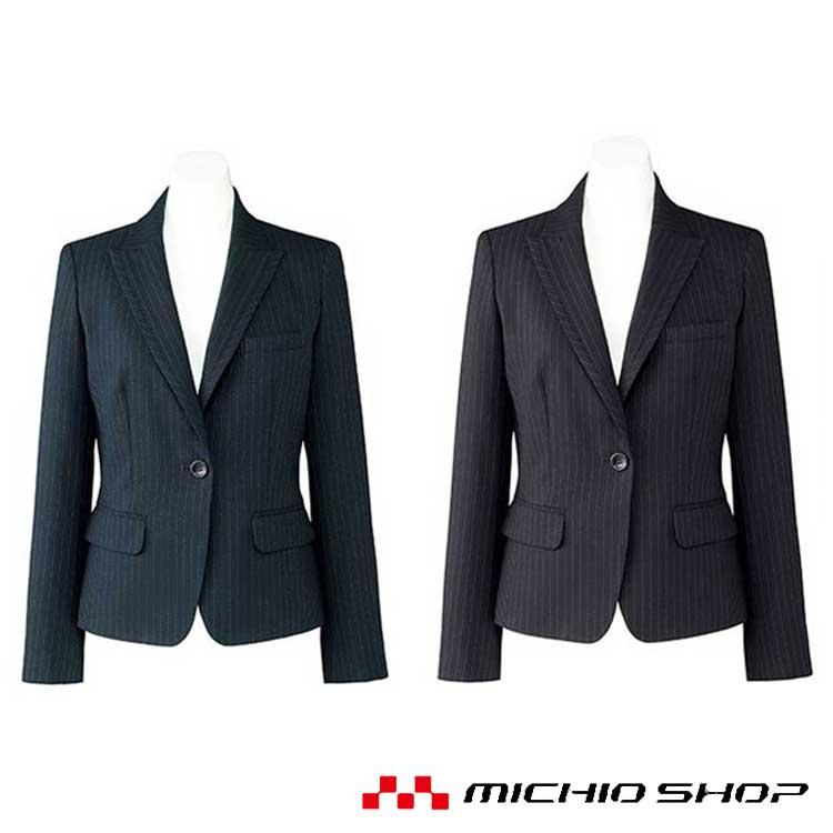 誠実で落ち着いた印象を与えるピンストライプのスーツは、洗練されたシルエットとイージーケアが魅力。バリュー(価値ある)なスーツです。 事務服 制服 BONMAX ボンマックス ジャケット AJ0246 オフィスユニフォームスーツビジネスカジュアル事務服