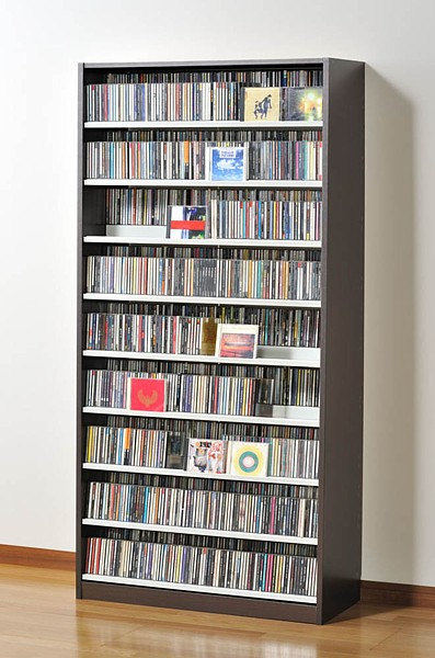 CDラック 日本製 大容量 TCS 890 D ダークブラウン 89cm幅 最大CD1503枚収納 DVDラック