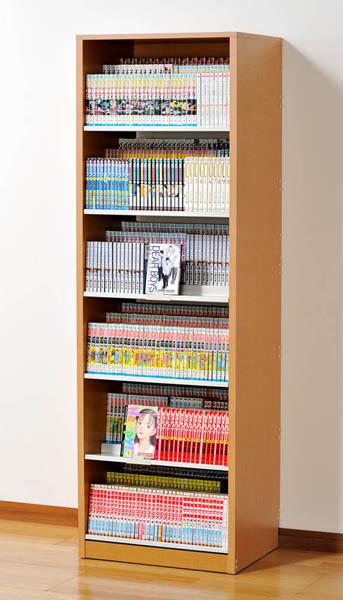 ひな段収納 コミックストッカー 3段収納 漫画コミックラック HCS590 N ナチュラル 最大684冊収納 DVDラック 日本製