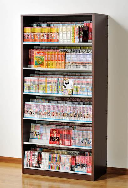 最大1008冊収納 ひな段収納 コミックストッカー 3段収納 漫画コミックラック HCS890 ダーク DVDラック 日本製