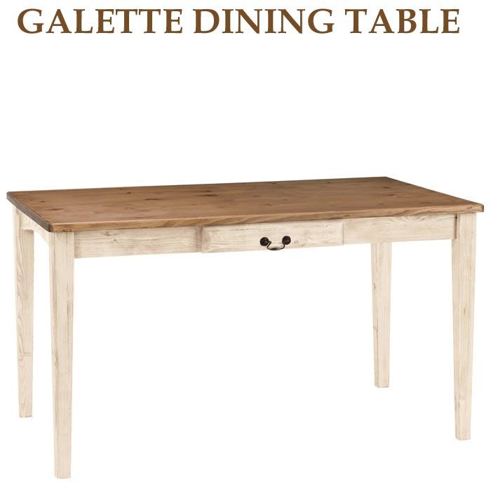開梱設置 ダイニングテーブル 天然木パイン無垢材 オイル塗装 ガレット GALETTE 125 WH/BR 素敵なカントリー調 かわいい ツートンカラー おしゃれ 新生活 4人 フレンチカントリー 白×茶