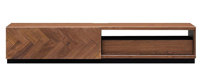 開梱設置 テレビボード 180 LMD-180 天然木ウォールナット無垢材 ヘリンボーン おしゃれ 上品 シンプル スライド扉 幅180cm