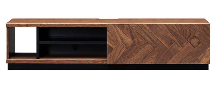開梱設置 テレビボード 150 LMD-150 天然木ウォールナット無垢材 ヘリンボーン おしゃれ 上品 シンプル スライド扉 幅150cm