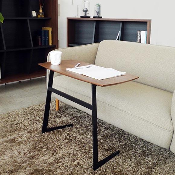 サイドテーブル 80cm ワイド おしゃれ 広め ウォールナット ブラックスチール フェイ スマート パソコンデスク ワーク