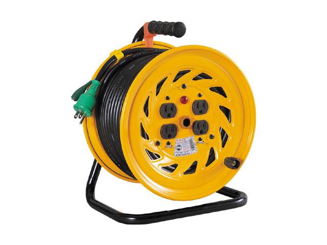 日動工業 一般用コードリール 100V アース付 50m 自動復帰センサー付 <NF-E54> 日動 工業 コードリール アースリール コード リール コンセント ビックリール びっくりーる 電工ドラム 15m巻 dy-15 アース棒 ニチドウ