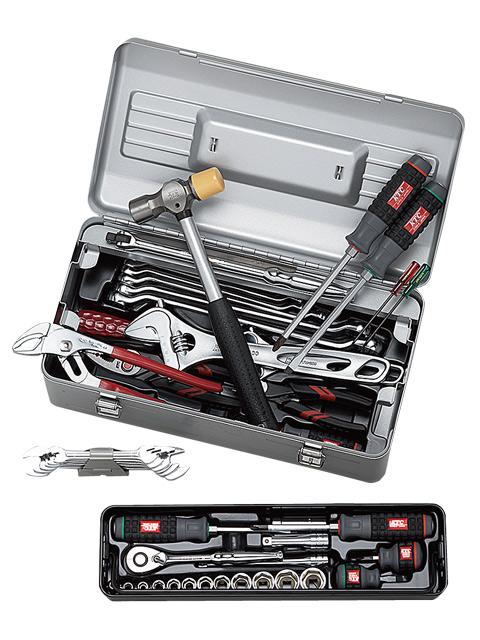 KTC(京都機械工具) 工具セット (片開きメタルケースタイプ) 9.5sq. 入組48点 <SK348S> 【工具箱 ツールボックス ツールセット バイク 時計 スナップオン シグネット おすすめ 自転車 価格 ストレート】